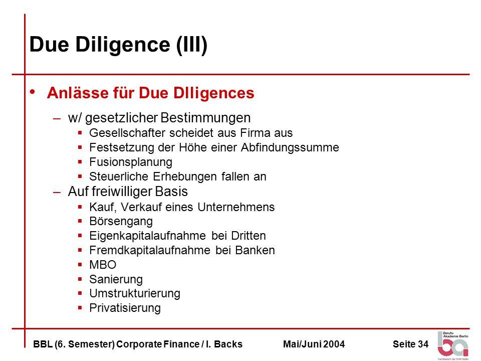 Due Diligence (III) Anlässe für Due Dlligences