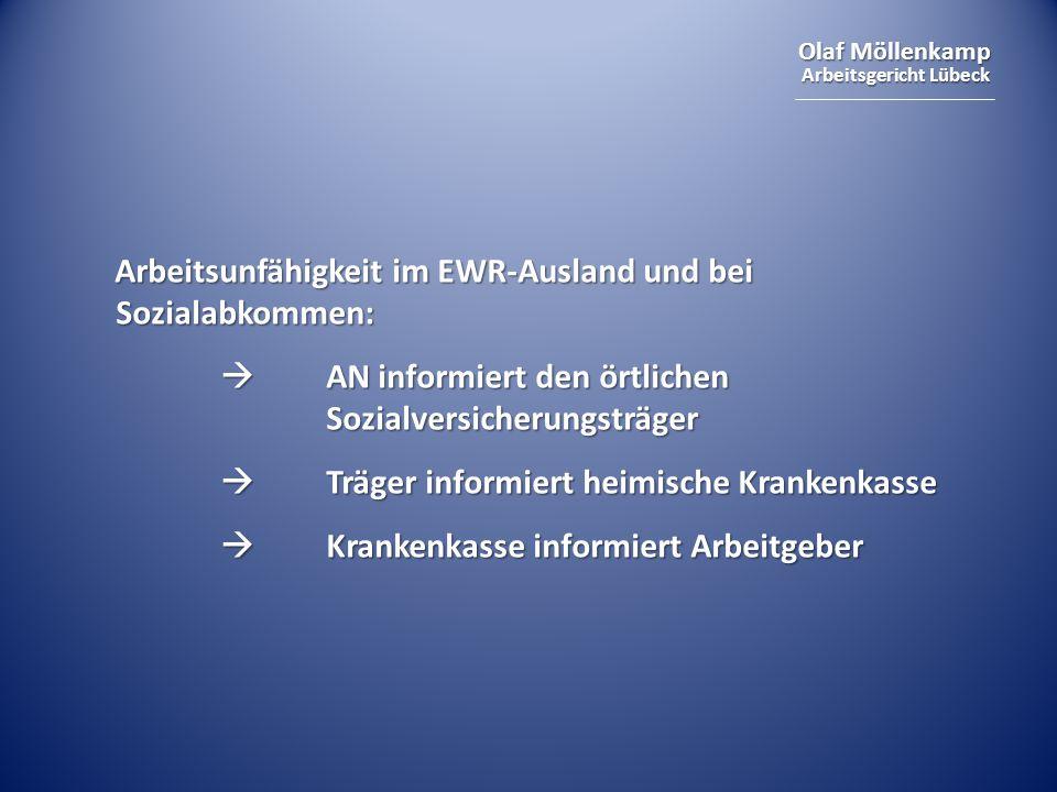 Arbeitsunfähigkeit im EWR-Ausland und bei Sozialabkommen: