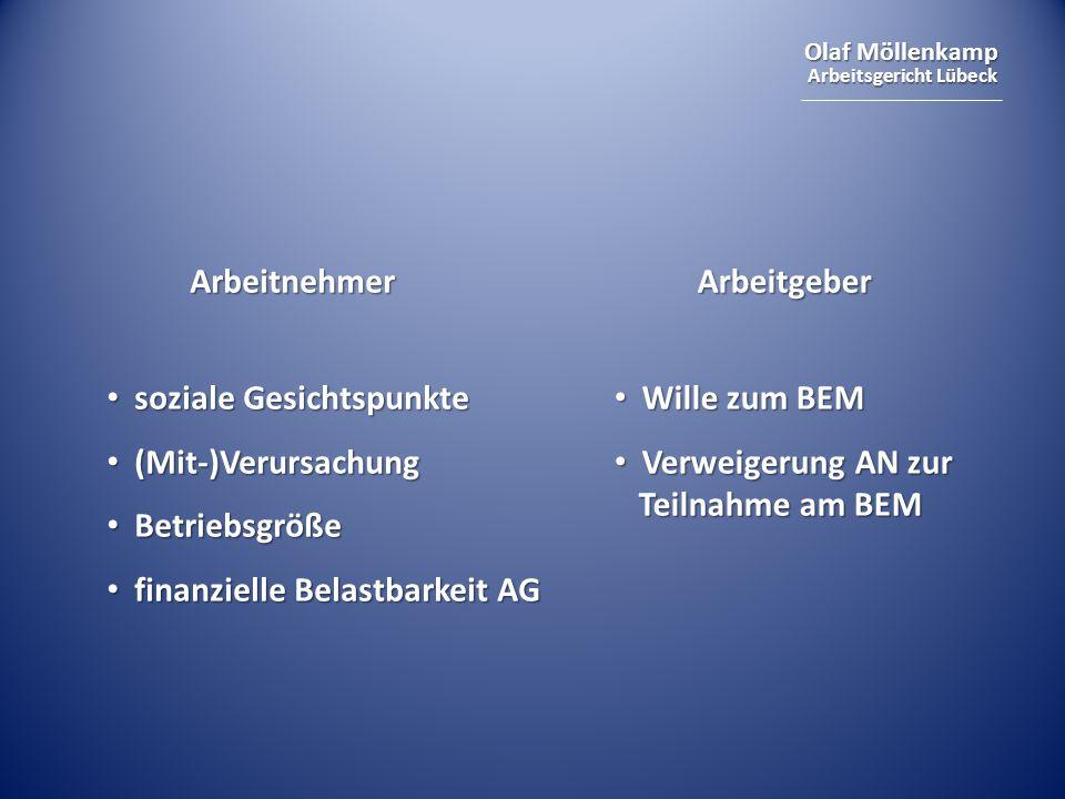 Arbeitnehmer Arbeitgeber. soziale Gesichtspunkte. (Mit-)Verursachung. Betriebsgröße. finanzielle Belastbarkeit AG.