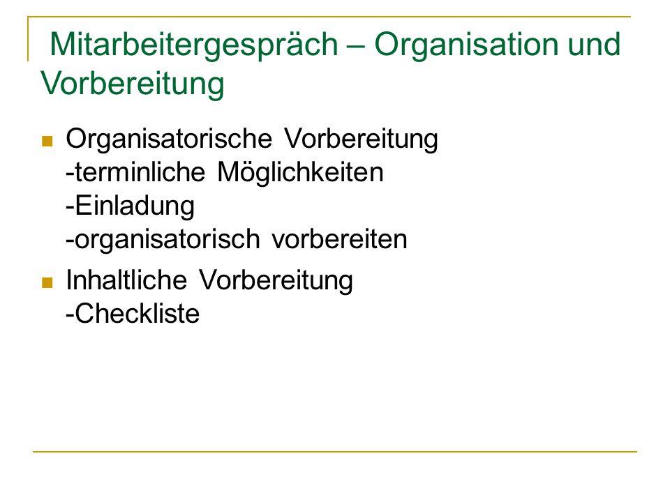 Mitarbeitergespräch – Organisation und Vorbereitung