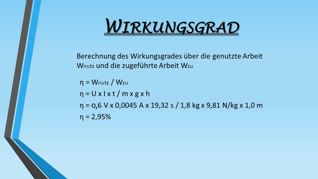 Wirkungsgrad Berechnung des Wirkungsgrades über die genutzte Arbeit Wnutz und die zugeführte Arbeit Wzu.