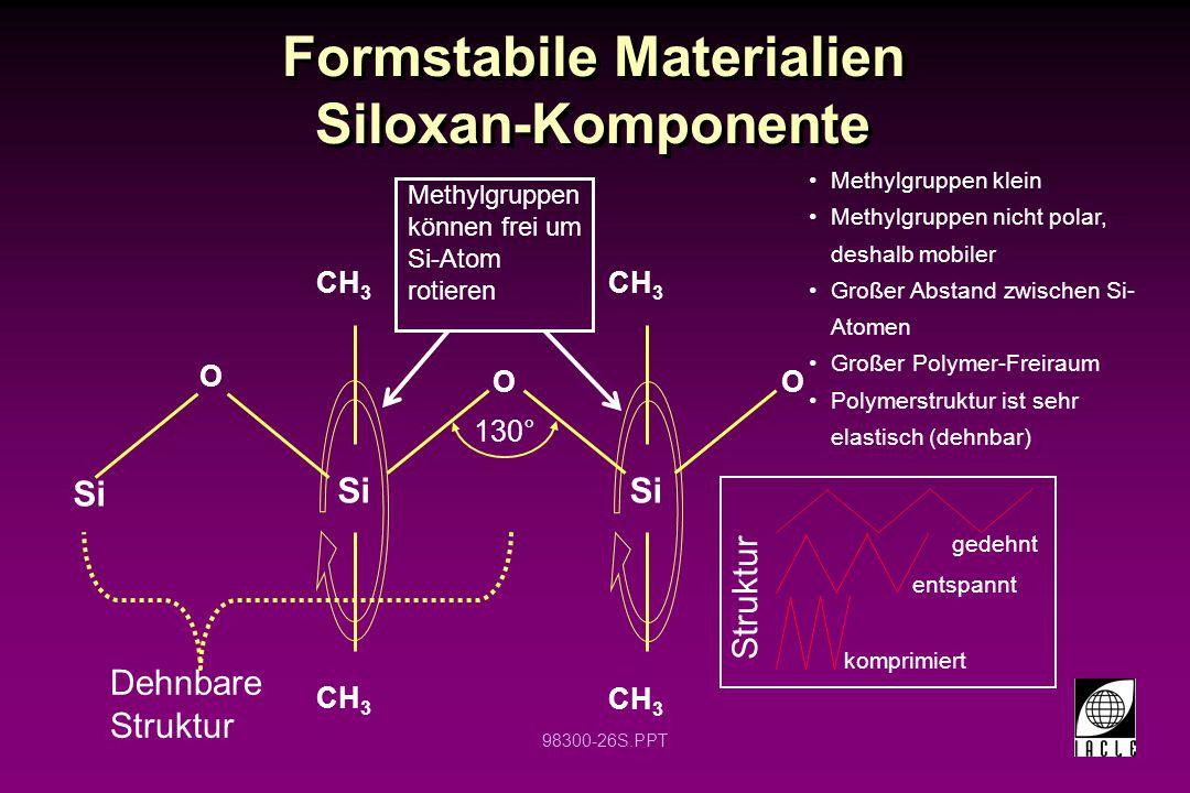 Formstabile Materialien Siloxan-Komponente