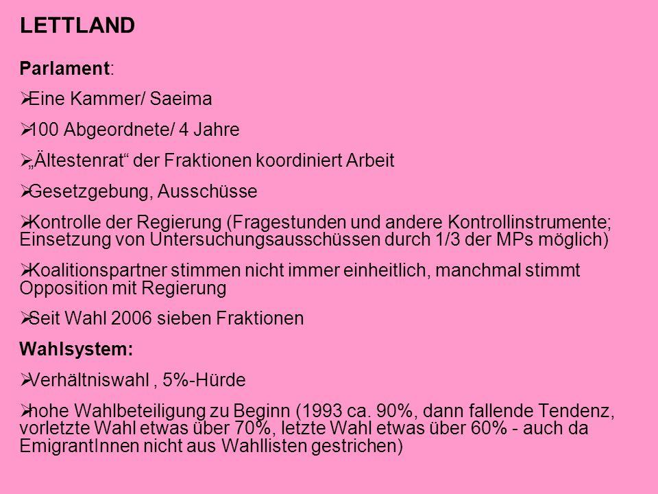 LETTLAND Parlament: Eine Kammer/ Saeima 100 Abgeordnete/ 4 Jahre