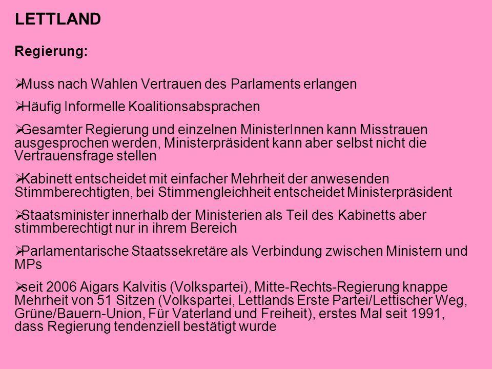 LETTLAND Regierung: Muss nach Wahlen Vertrauen des Parlaments erlangen