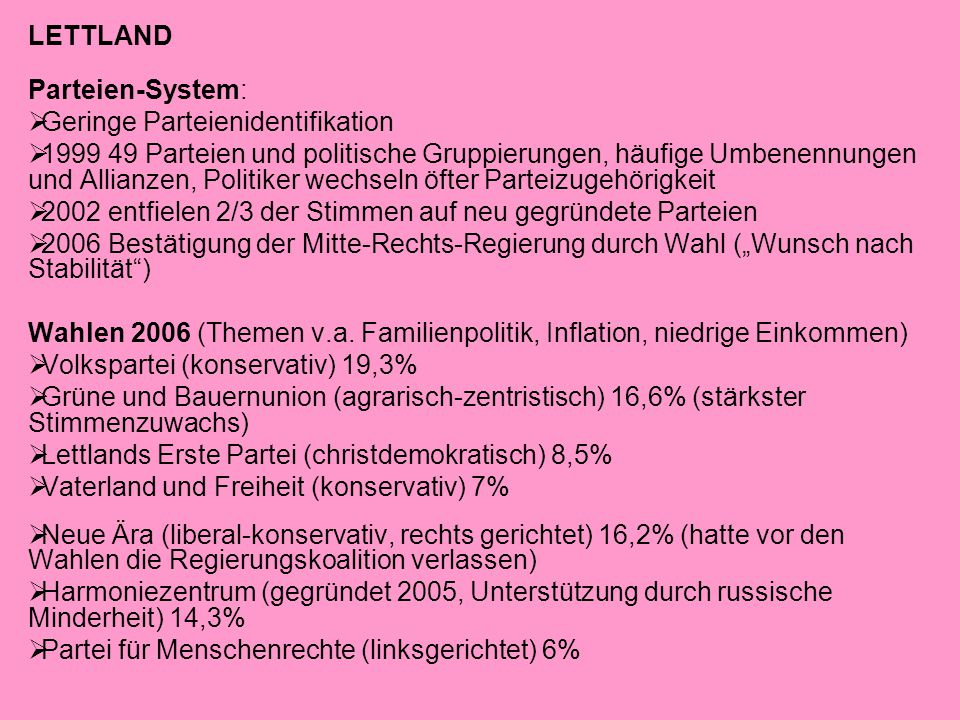 LETTLAND Parteien-System: Geringe Parteienidentifikation.