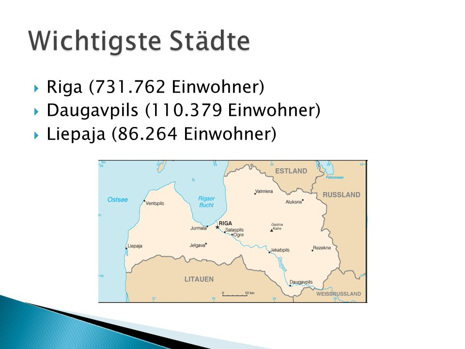 Wichtigste Städte Riga (731.762 Einwohner)