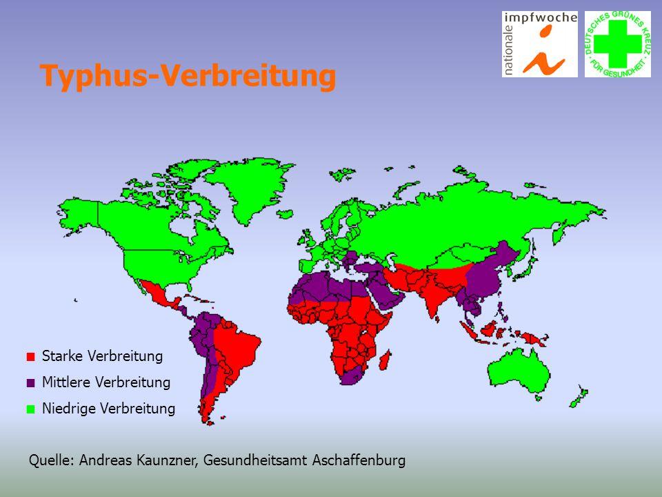 Typhus-Verbreitung  Starke Verbreitung  Mittlere Verbreitung