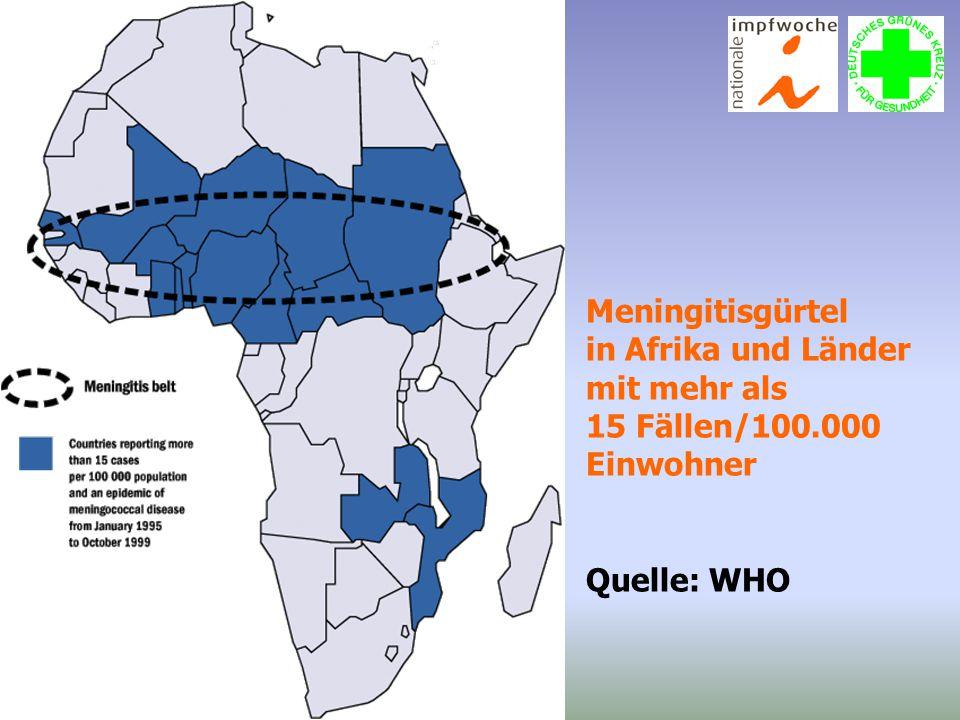Meningitisgürtel in Afrika und Länder mit mehr als 15 Fällen/100