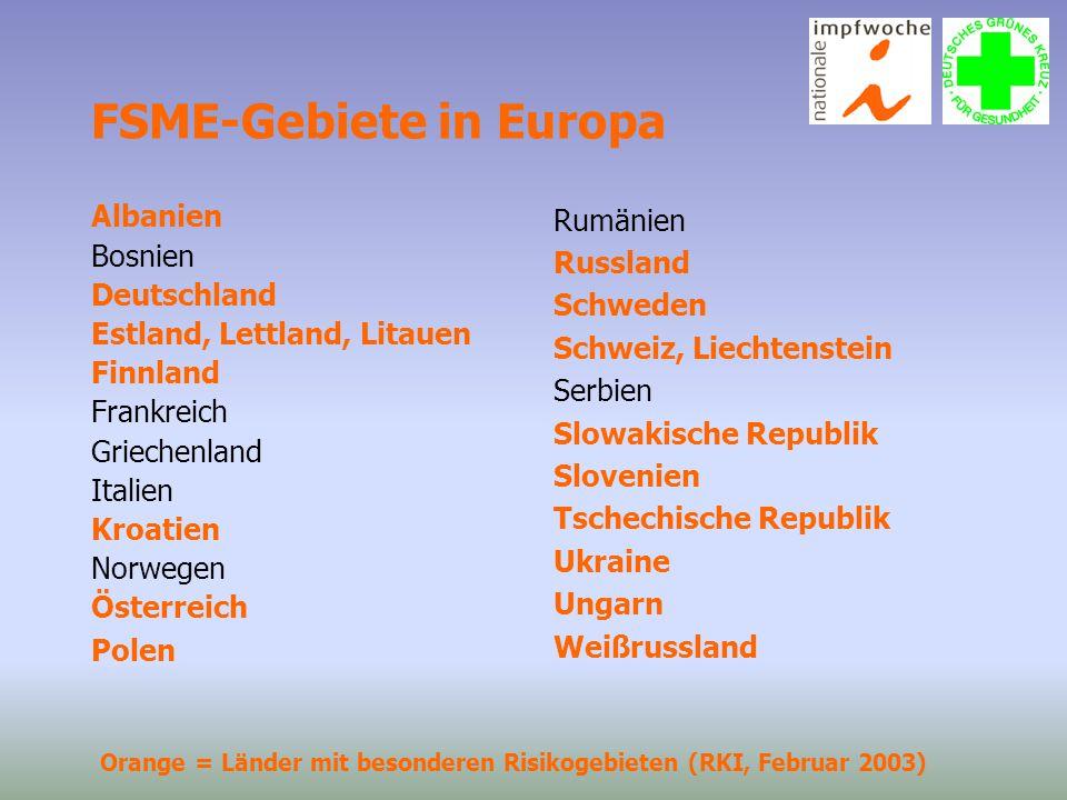 FSME-Gebiete in Europa