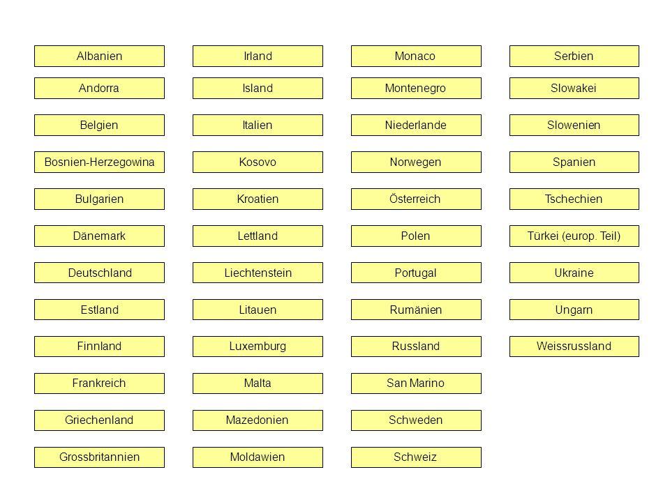 Albanien Irland. Monaco. Serbien. Andorra. Island. Montenegro. Slowakei. Belgien. Italien. Niederlande.