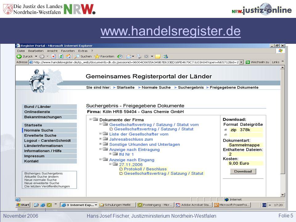 Hans Josef Fischer, Justizministerium Nordrhein-Westfalen