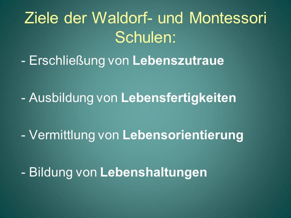 Ziele der Waldorf- und Montessori Schulen: