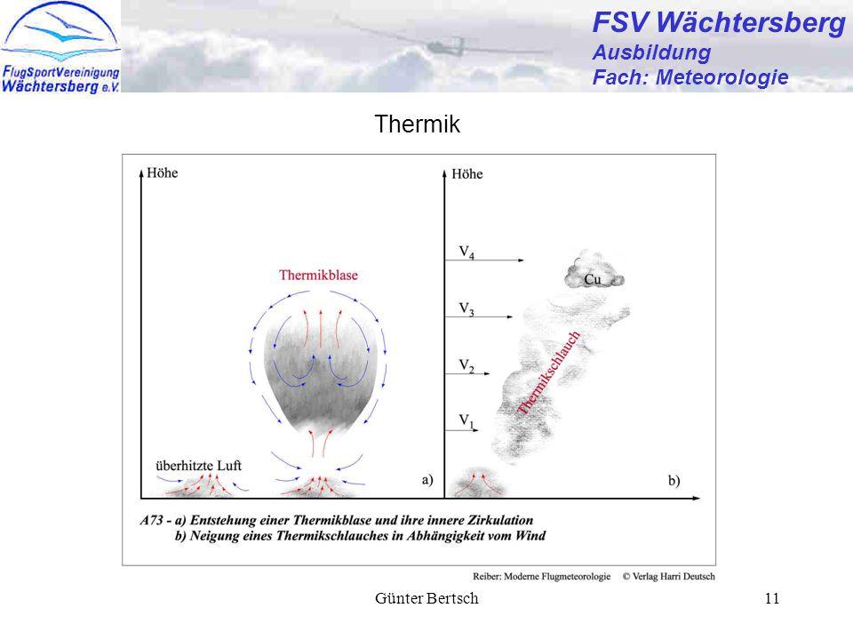FSV Wächtersberg Ausbildung Fach: Meteorologie Thermik Günter Bertsch