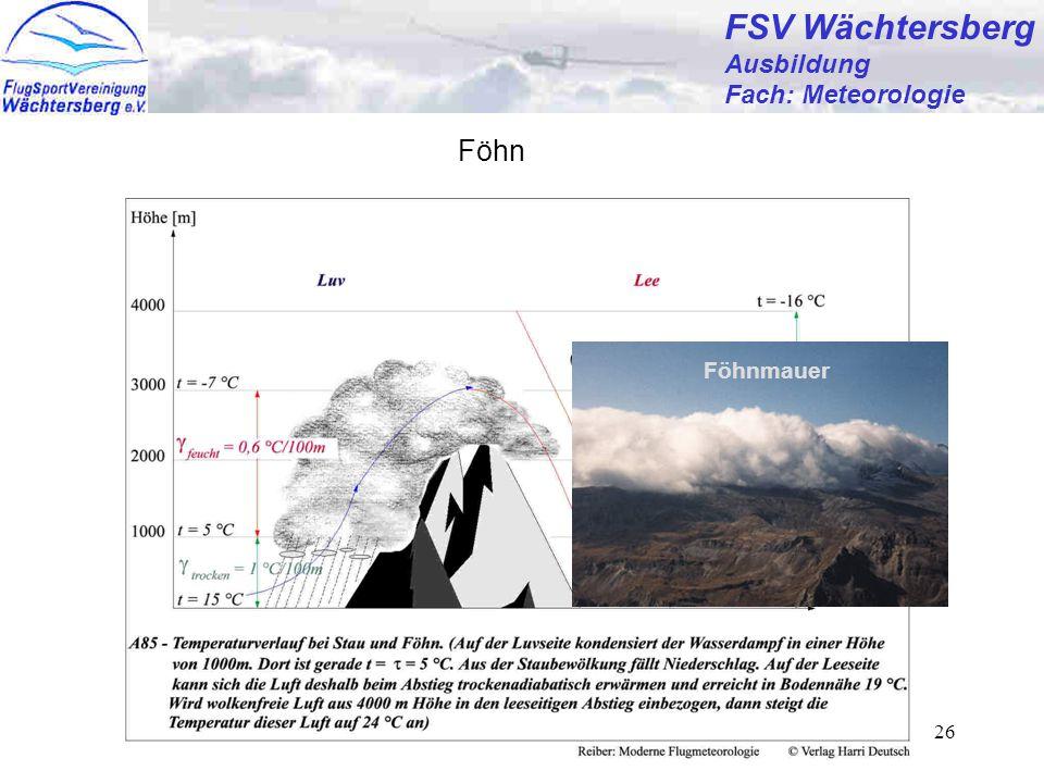 FSV Wächtersberg Föhn Ausbildung Fach: Meteorologie Föhnmauer