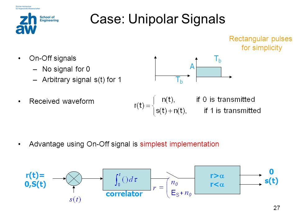 Case: Unipolar Signals