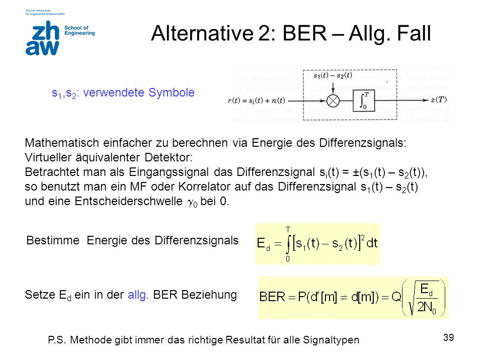 Alternative 2: BER – Allg. Fall