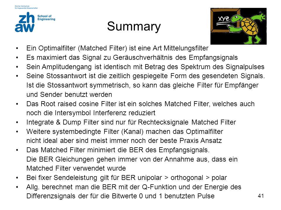 Summary Ein Optimalfilter (Matched Filter) ist eine Art Mittelungsfilter. Es maximiert das Signal zu Geräuschverhältnis des Empfangsignals.