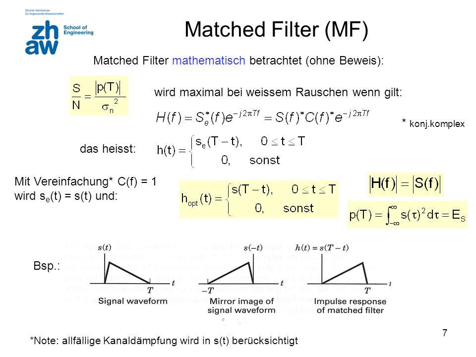 Matched Filter (MF) Matched Filter mathematisch betrachtet (ohne Beweis): wird maximal bei weissem Rauschen wenn gilt: