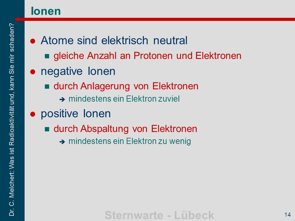 Atome sind elektrisch neutral negative Ionen