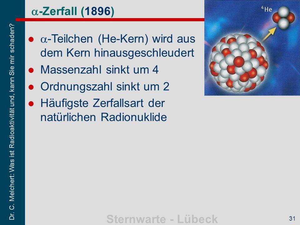 a-Teilchen (He-Kern) wird aus dem Kern hinausgeschleudert
