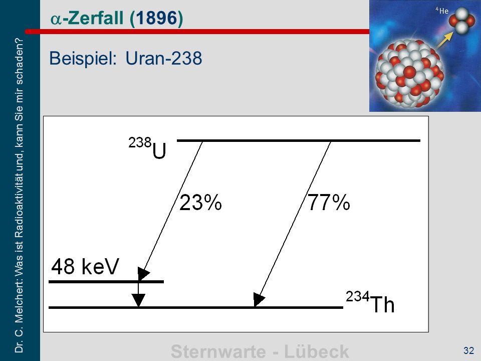 a-Zerfall (1896) Beispiel: Uran-238 32