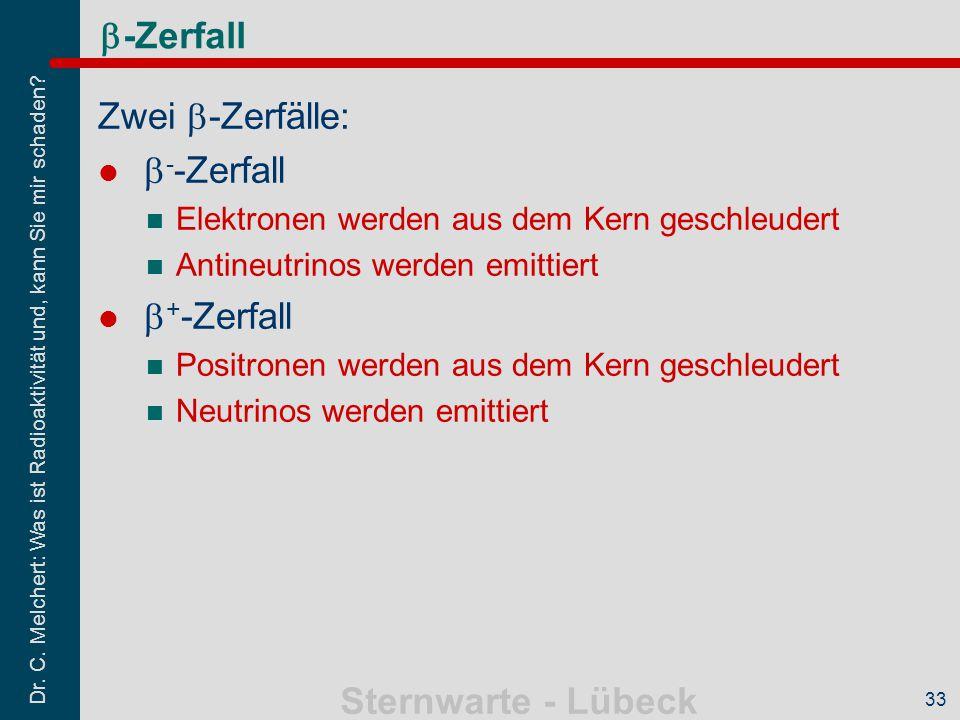 b-Zerfall Zwei b-Zerfälle: b--Zerfall b+-Zerfall