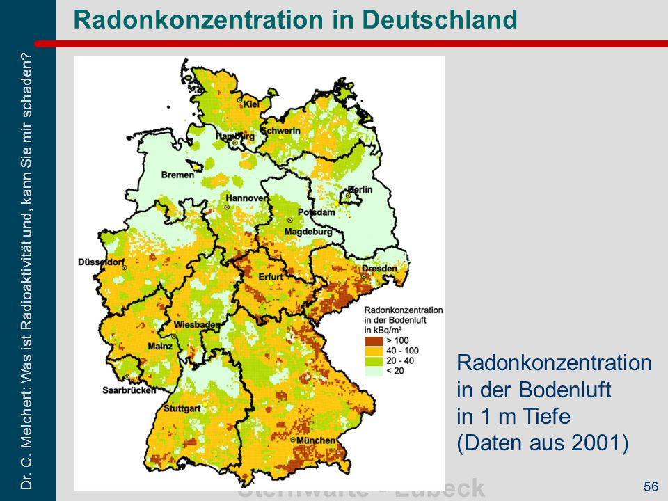 Radonkonzentration in Deutschland