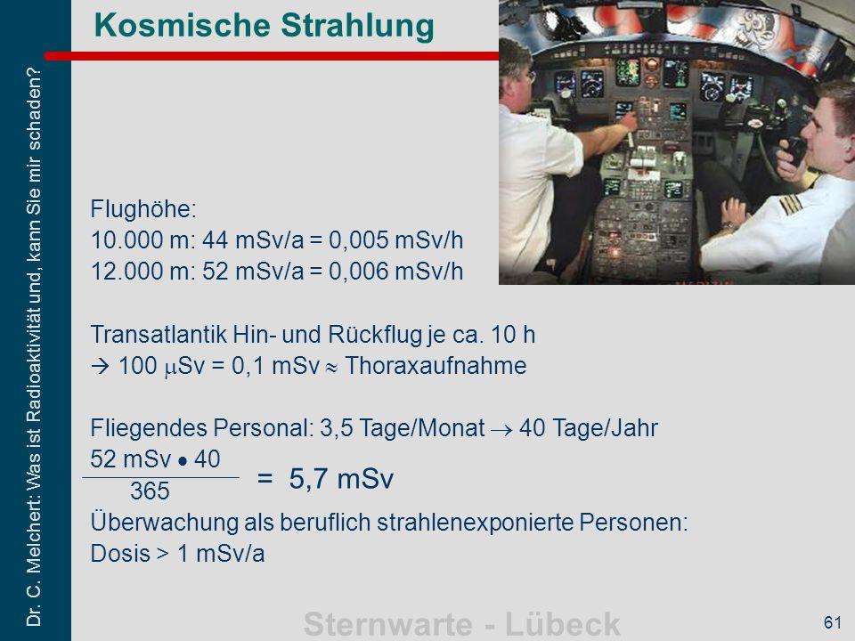 Kosmische Strahlung = 5,7 mSv Flughöhe: