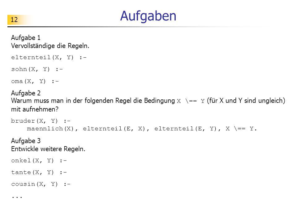 Aufgaben Aufgabe 1 Vervollständige die Regeln. elternteil(X, Y) :-