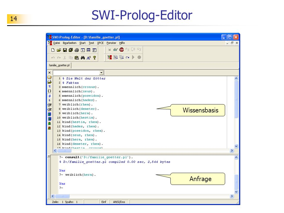 SWI-Prolog-Editor Wissensbasis Anfrage