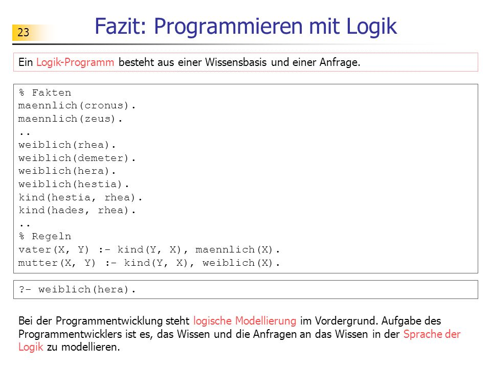 Fazit: Programmieren mit Logik