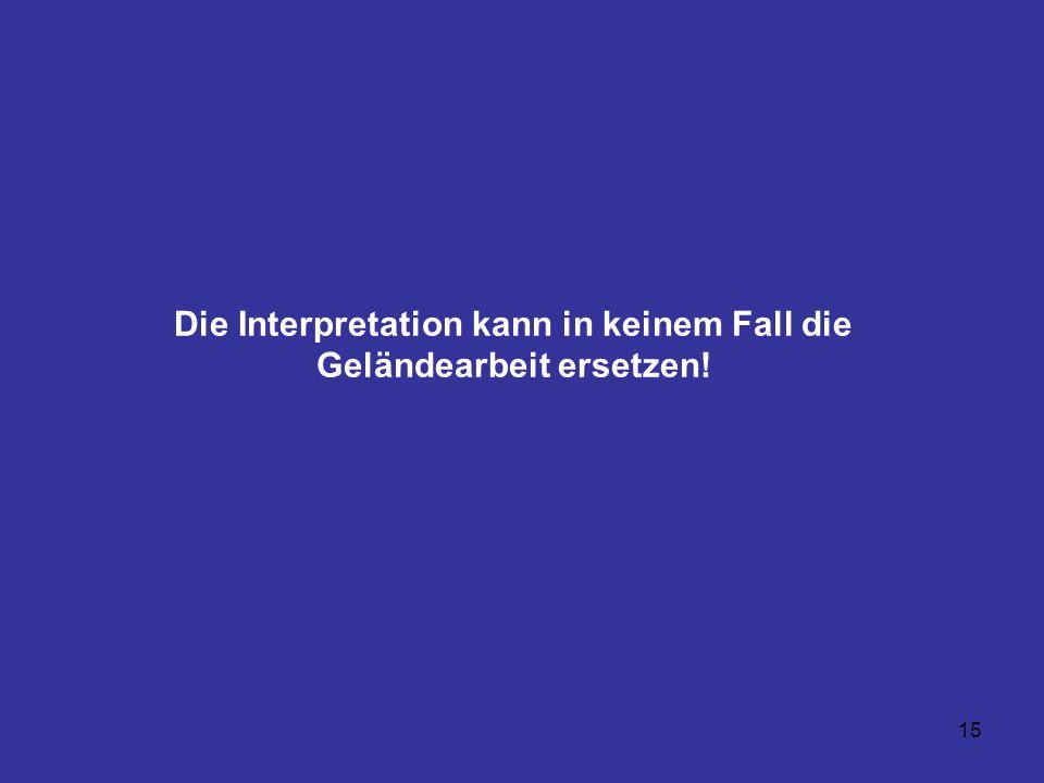 Die Interpretation kann in keinem Fall die Geländearbeit ersetzen!