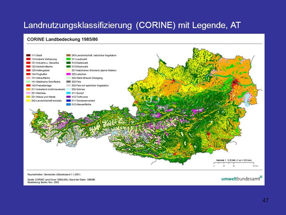 Landnutzungsklassifizierung (CORINE) mit Legende, AT