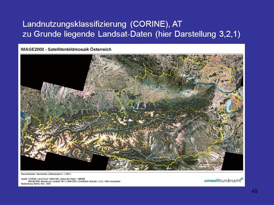 Landnutzungsklassifizierung (CORINE), AT zu Grunde liegende Landsat-Daten (hier Darstellung 3,2,1)