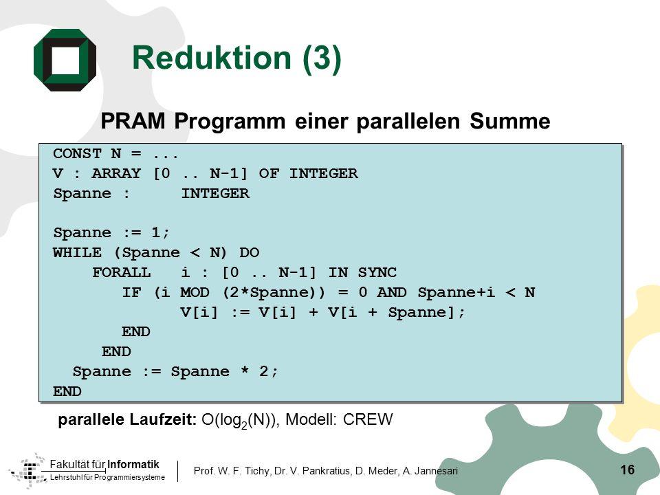 Reduktion (3) PRAM Programm einer parallelen Summe CONST N = ...
