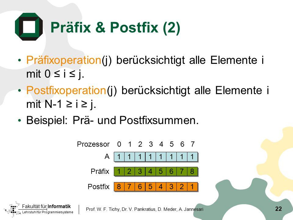 Präfix & Postfix (2) Präfixoperation(j) berücksichtigt alle Elemente i mit 0 ≤ i ≤ j.