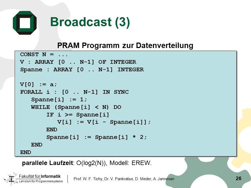 Broadcast (3) PRAM Programm zur Datenverteilung CONST N = ...