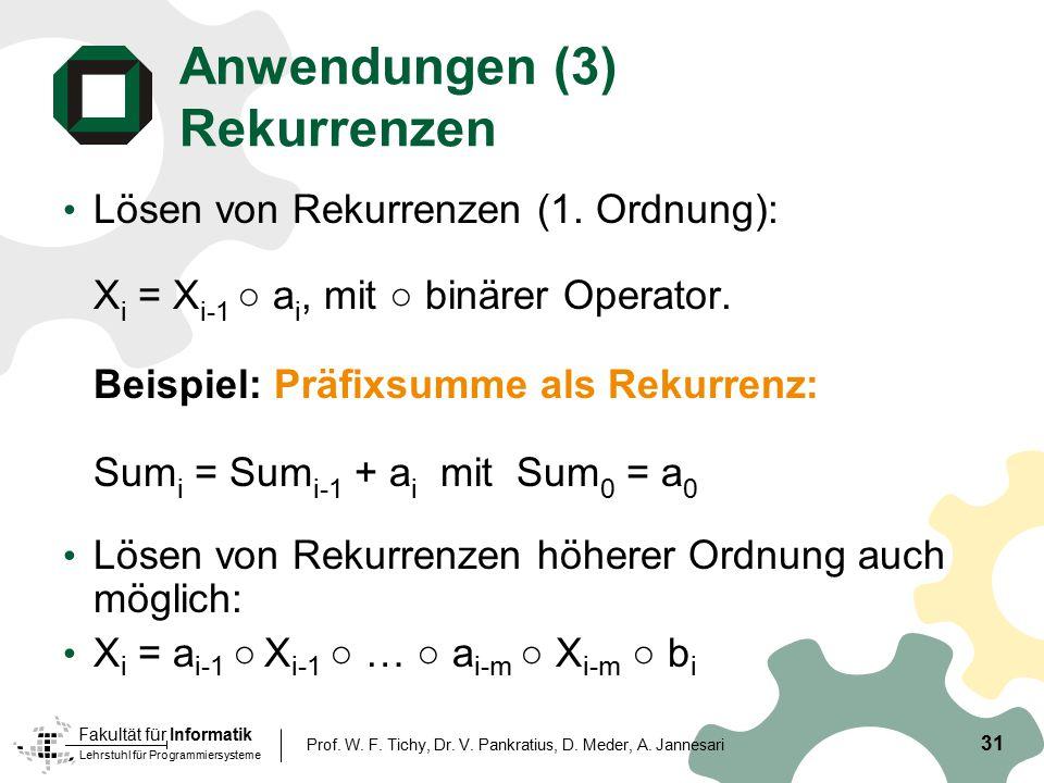 Anwendungen (3) Rekurrenzen