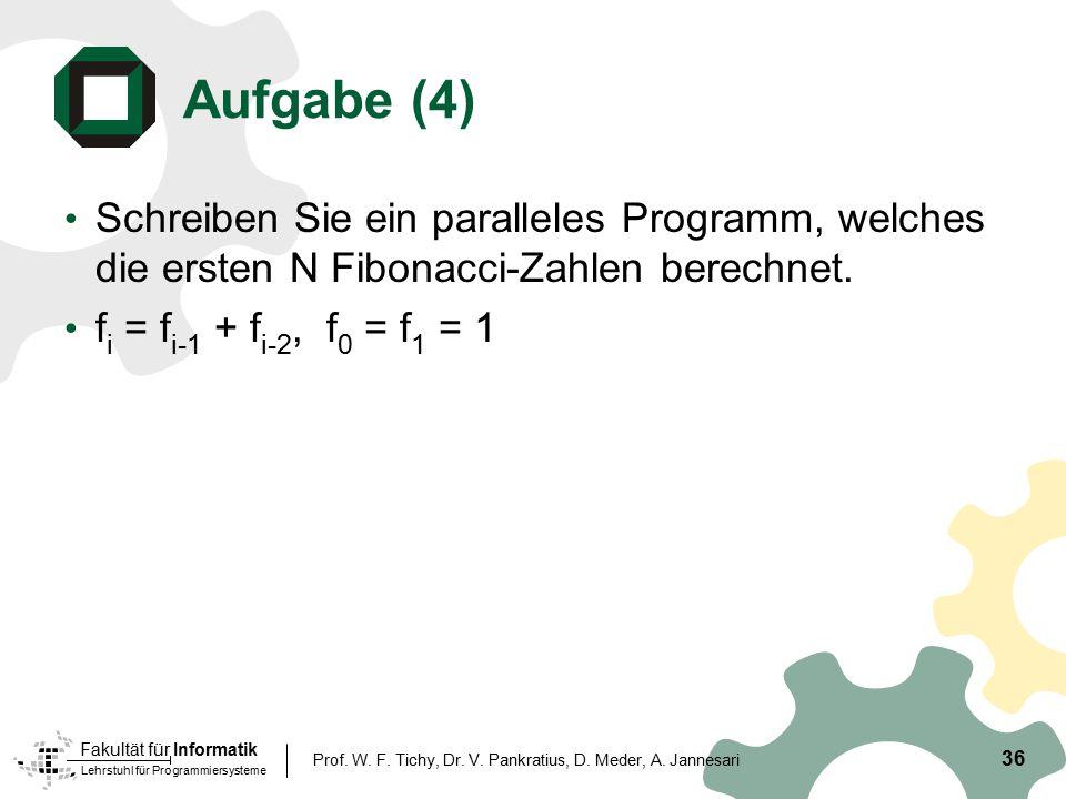 Aufgabe (4) Schreiben Sie ein paralleles Programm, welches die ersten N Fibonacci-Zahlen berechnet.