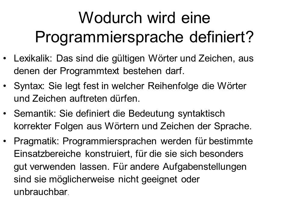 Wodurch wird eine Programmiersprache definiert