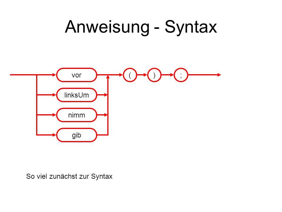 Anweisung - Syntax vor linksUm nimm gib ( ) ;