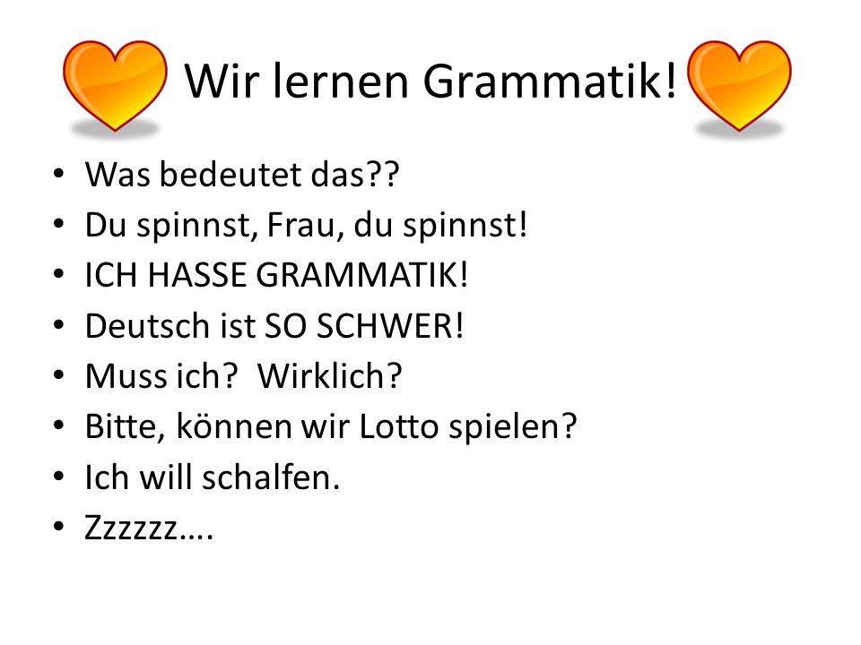 Wir lernen Grammatik! Was bedeutet das Du spinnst, Frau, du spinnst!