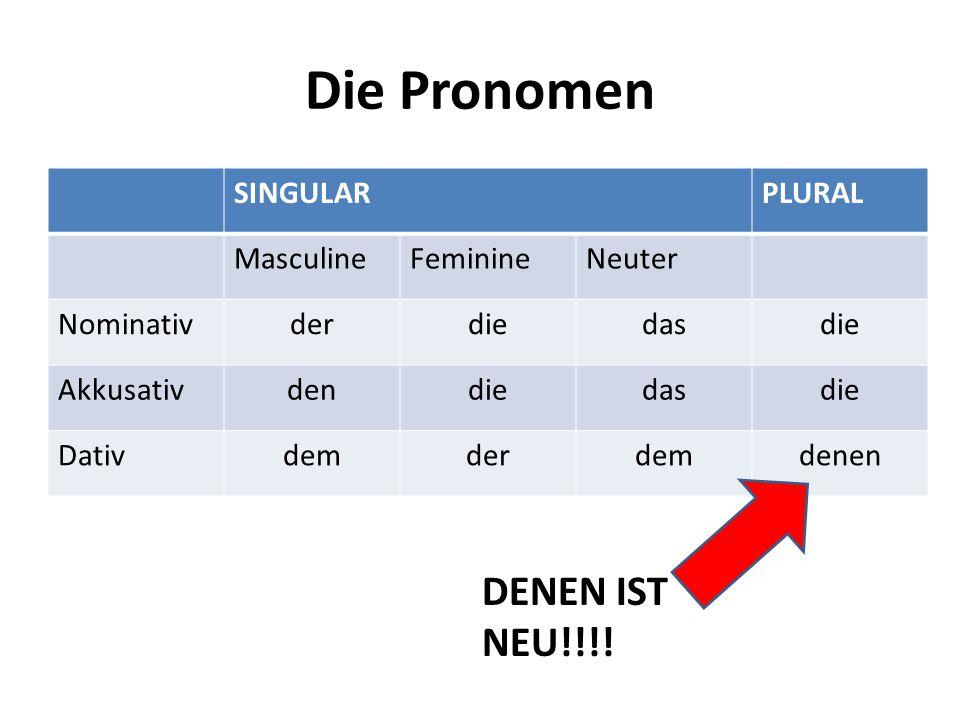 Die Pronomen DENEN IST NEU!!!! SINGULAR PLURAL Masculine Feminine