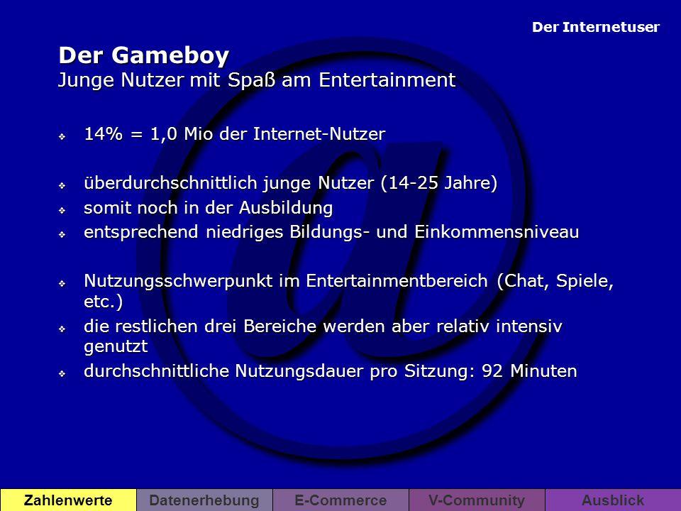 Der Gameboy Junge Nutzer mit Spaß am Entertainment