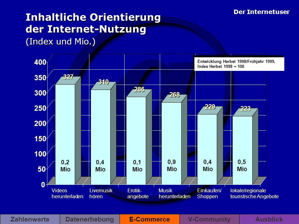 Inhaltliche Orientierung der Internet-Nutzung (Index und Mio.)