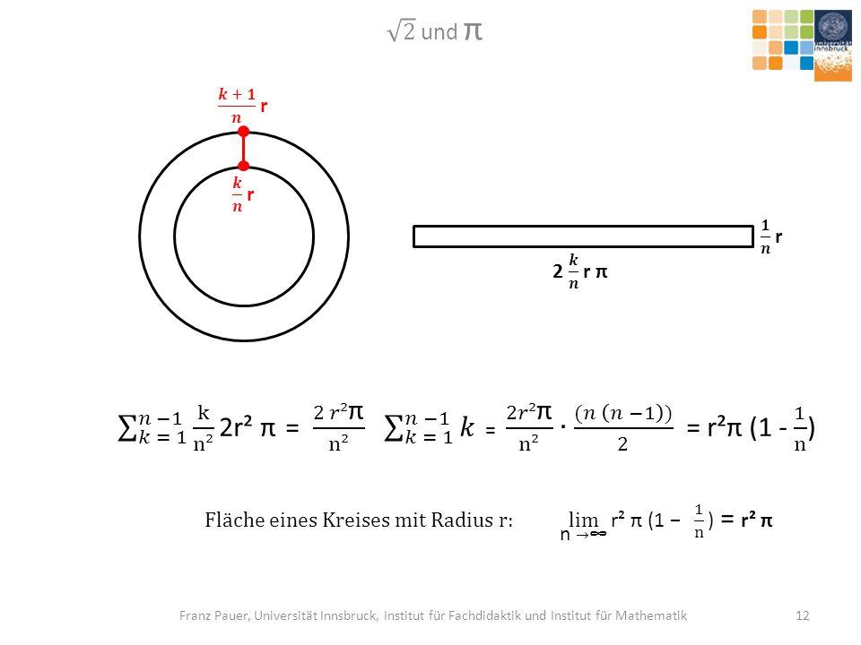 Fläche eines Kreises mit Radius r: lim n →∞ r² π (1 − 1 n ) = r² π