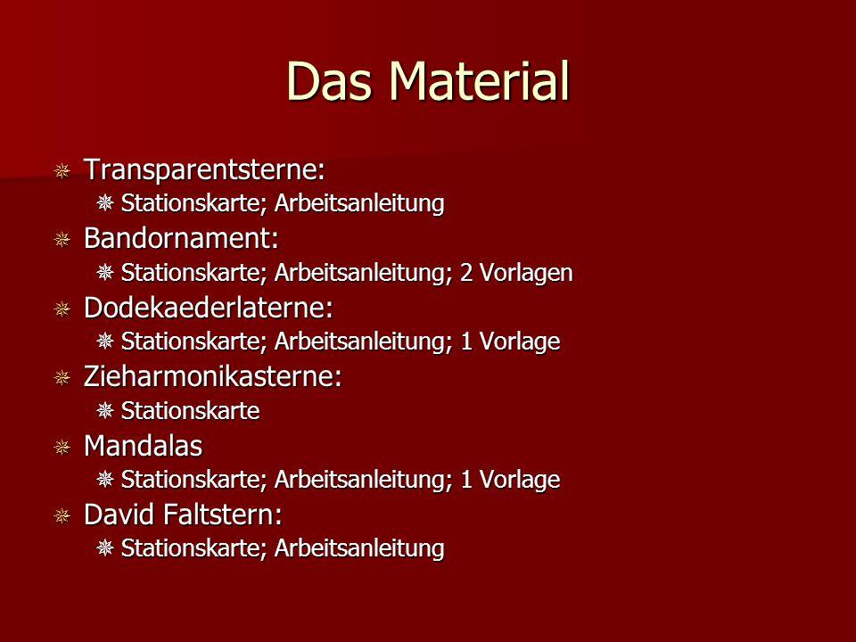 Das Material Transparentsterne: Bandornament: Dodekaederlaterne: