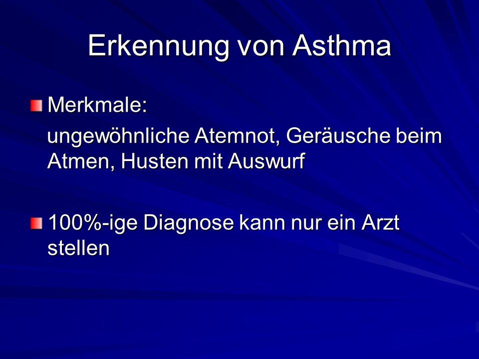 Erkennung von Asthma Merkmale: