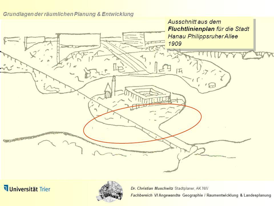 Ausschnitt aus dem Fluchtlinienplan für die Stadt Hanau Philippsruher Allee 1909