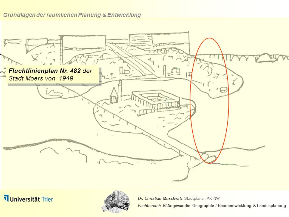 Fluchtlinienplan Nr. 482 der Stadt Moers von 1949